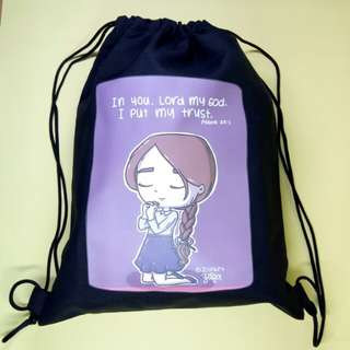 Drawstring Bag Black Printed