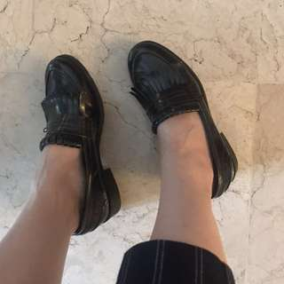 ZARA Black Fringe Loafers