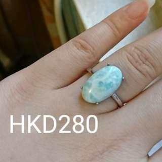 拉利瑪海紋石簡約戒指