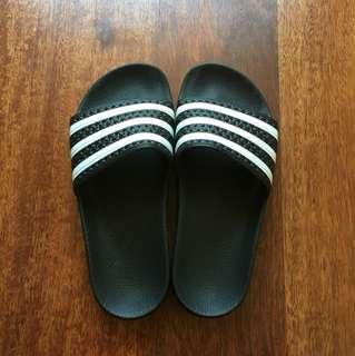 Adidas Slides Size 5 (US) Black and White