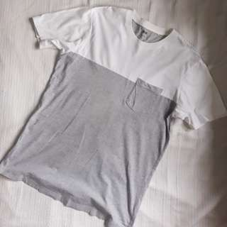 Uniqlo White and Gray Pocket Tee