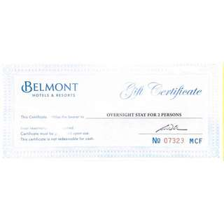 Belmont Hotels & Resorts Overnight Stay for Two