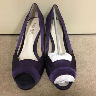 Purple satin heels
