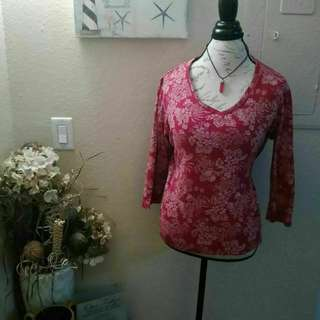 Red & White Floral Long Sleeve Shirt