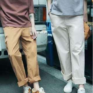 米白色純棉寬鬆直筒褲
