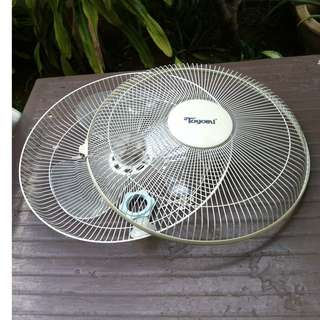 Toyomi fan blade 14 1/2 inches $7, front and back cages no rust $7, front knob $4