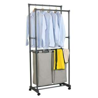 Brand New Double Pole Garment Rack With Laundry Bags