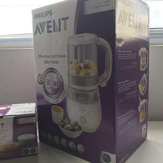 BNIB Philips Avent 4-in-1 Healthy Baby Food Maker + Storage Pots Bundle