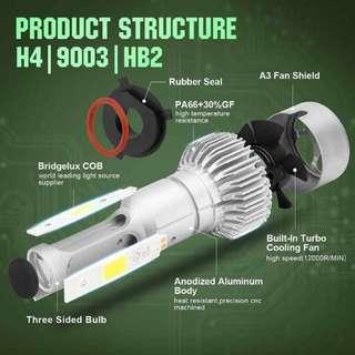 COB H4 LED Headlights Bulb Fog Light, White 6000K, 40W 10000LM per bulb