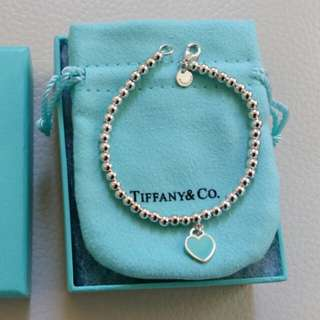New Tiffany & Co Blue Heart Bead Bracelet