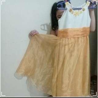 Golden Orange Girls Gown