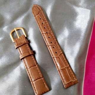 16mm靚皮淺非色真皮錶帶