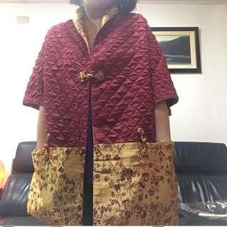 復古 緞面絲質 雙面式披肩、披肩式上衣