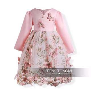 3D Long Sleeves Butterfly Princess Dress