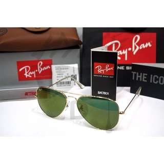 Authentic Ray Ban Aviator RB3025 W3276 58MM Golden Reflector Mirror.