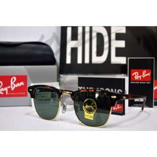 Authentic Ray Ban Clubmaster RB3016 W3066 51MM Tortoise.