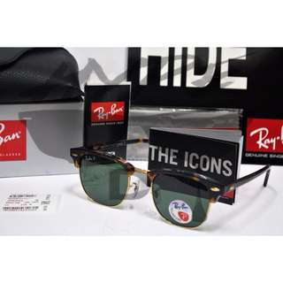 Authentic Ray Ban Clubmaster RB3016 902/58 51MM Tortoise Polarized.