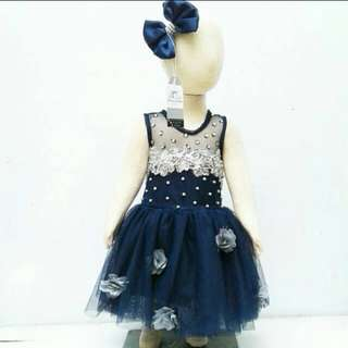 baju pesta party dress navy