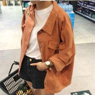 [PO] brick red / brown denim jacket #1212YES