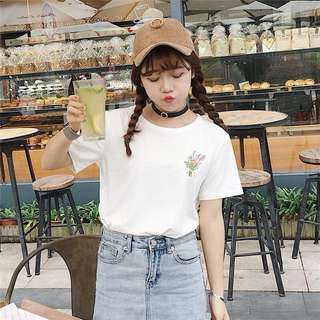 [PO] White Floral Embroided Top / Tee / Shirt #1212YES