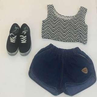 Crop top x denim shorts