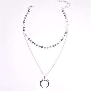 Moon pendant necklace double layer