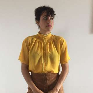 Vintage yellow mandarin collar blouse