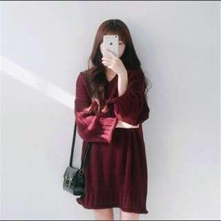 V領寬鬆長袖純色簡約洋裝#好物任你換