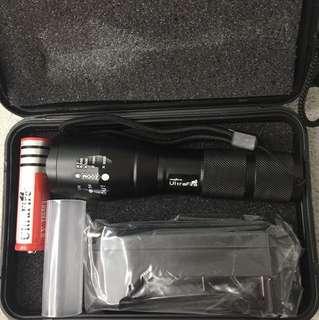 Ultrafire Flashlight Torchlight with case , 18650 battery and charger