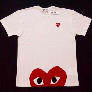 Comme Des Garcons Play White Half Heart Logo T-Shirt