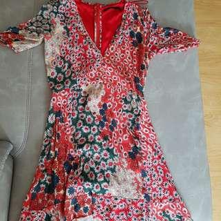Red Zara Tea Dress