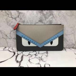Fendi Monster Saffiano Leather Zip Pouch