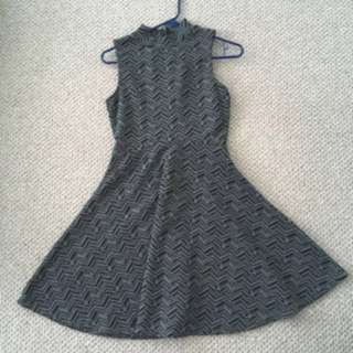 Grey Pattern Turtle Neck Dress
