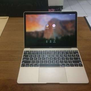 Laptop Macbook 12 Inch Gold Retina Fullset Nego