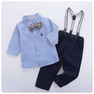 SET KEMEJA + JEANS WITH SUSPENDERS