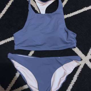 Powder blue racerback bikini set