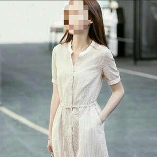 🚚 (全新) 春夏清新文青風條紋豎紋中長款連身裙連衣裙洋裝 - 棕紅條紋
