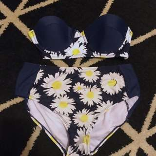 Sunflower print Strapless bikini set