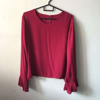 Red Blouse W/ Pleated Sleeves