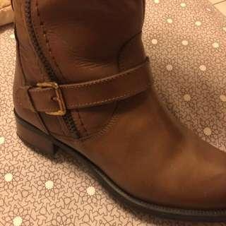 西班牙品牌長靴 深駝色真牛皮37平常穿38可穿