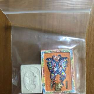 Kruba Krissana Butterfly Amulet plus small salika