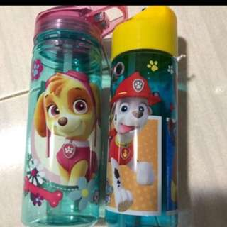 Instock Paw Patrol water bottles straw type brand new