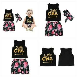 Baby Kids Casual Clothes Set Vest Tops+Pants+Headband💫