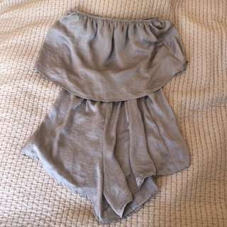 Princess Polly Silver Playsuit Size M