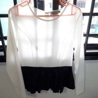 ZALIA White Lady Blouse with Black Sequins
