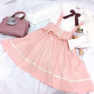 Amauel 日本lolita系 繫帶荷葉滾邊橘粉吊帶裙