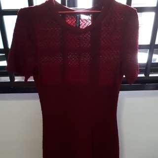 H&M Maroon Lady Mini Dress