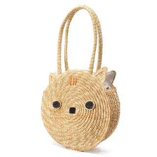 Cat Straw Bag