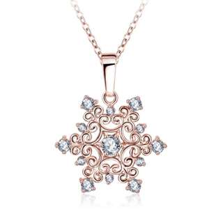 18k Rose gold plated crystal necklace (Snowflake)