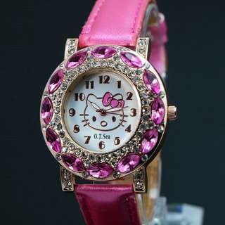 Cute Hello Kitty Style Crystal Girl's Watch